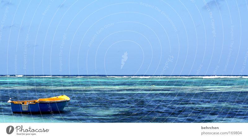 interceptor Wasser Himmel Meer blau Ferien & Urlaub & Reisen Einsamkeit träumen Wasserfahrzeug Abenteuer Insel Unendlichkeit genießen Fernweh Afrika Flitterwochen Seychellen