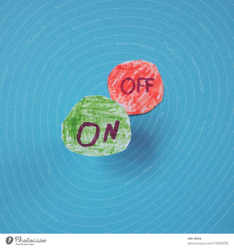 Positive Thinking Zeichen Schriftzeichen blau grün rot Kraft Mobilität Zukunft Motivation off aktivieren ausschalten Beginn Farbfoto mehrfarbig Innenaufnahme