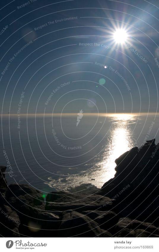 Sonne Wasser Himmel Meer Sommer Ferien & Urlaub & Reisen Ferne Freiheit Luft Wellen Küste Umwelt Horizont Ausflug Hoffnung Energiewirtschaft