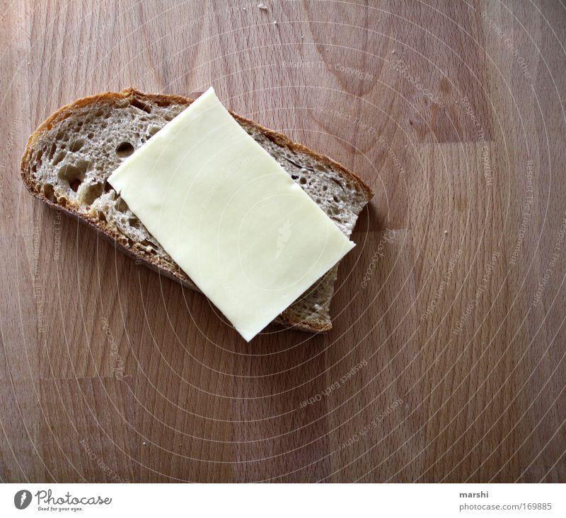 MAHLZEIT - bin auf Diät! Farbfoto Lebensmittel Käse Brot Ernährung Frühstück Abendessen Gesundheit lecker braun gelb Gefühle Stimmung Willensstärke zurückhalten