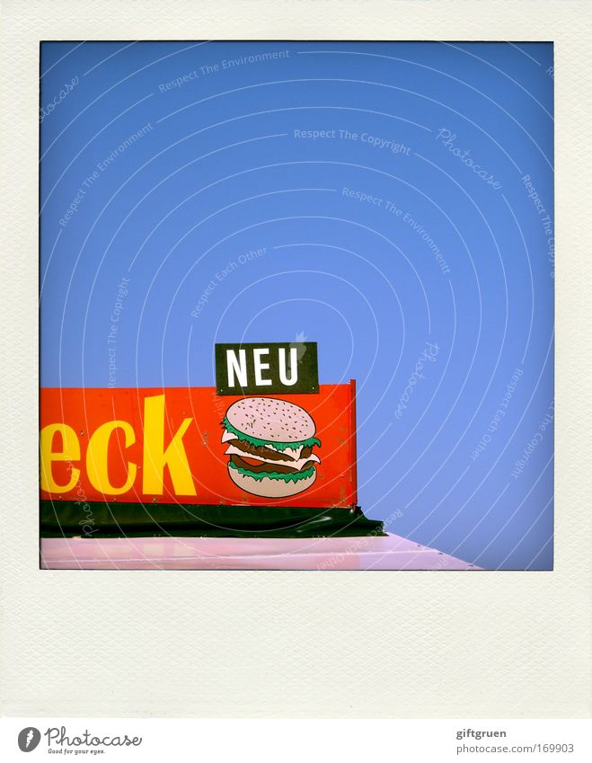 drei sterne Farbfoto mehrfarbig Polaroid Menschenleer Textfreiraum oben Ernährung Fastfood Hamburger Ketchup neu Erfrischungsgetränk Limonade Restaurant Imbiss