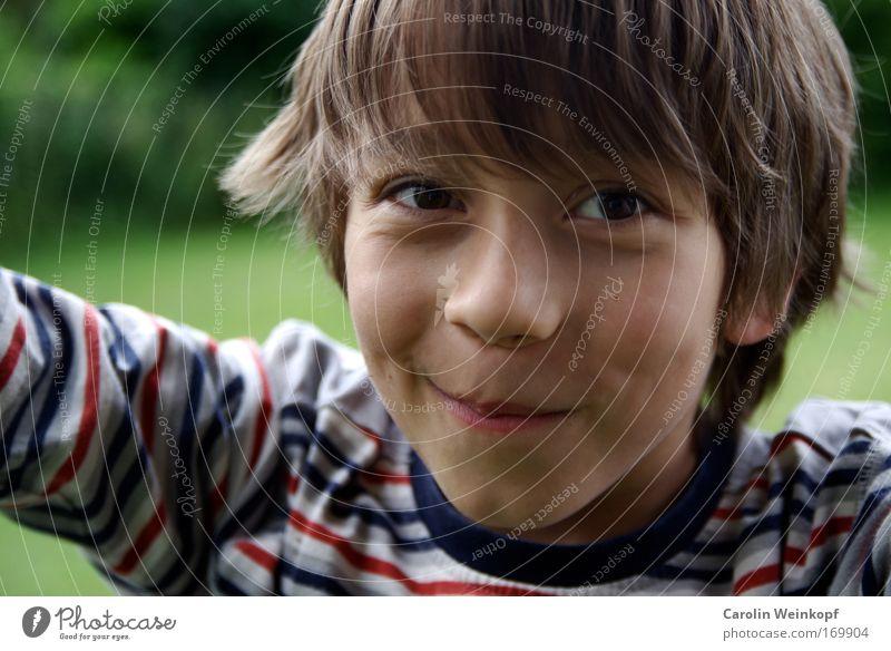 Unschuldig. Farbfoto Außenaufnahme Tag Schatten Kontrast Schwache Tiefenschärfe Blick in die Kamera Mensch maskulin Kind Junge Jugendliche Haut Kopf