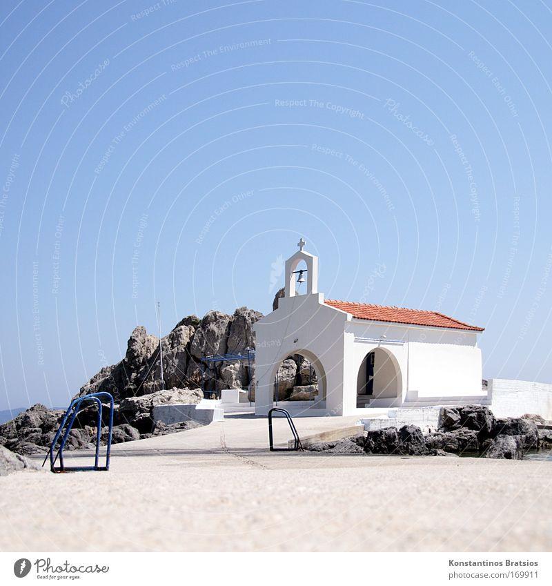 heiliges Örtchen schön Meer Sommer ruhig Architektur Wärme Religion & Glaube hell Kraft Tourismus Perspektive Hoffnung Kirche Europa Kultur
