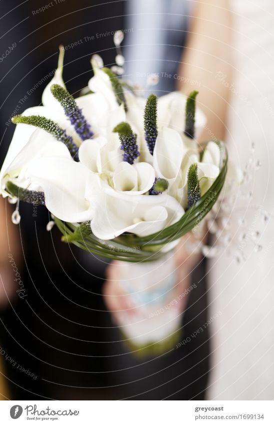 Braut hält Hochzeit Bouquet von weißen Blumen. Romantische Details Reichtum elegant Glück schön Dekoration & Verzierung Feste & Feiern Frau Erwachsene Hand