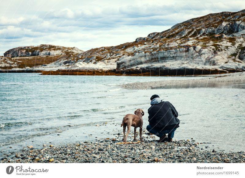 Auszeit Lifestyle harmonisch Freizeit & Hobby Abenteuer Ferne Freiheit Meer Mensch Mann Erwachsene Urelemente Wasser Felsen Küste Tier Haustier Hund wandern