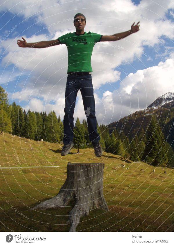 Free at least Mensch Natur springen Freiheit