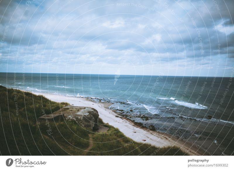 beach Himmel Ferien & Urlaub & Reisen Natur blau grün Wasser Landschaft Meer Wolken Ferne Leben Umwelt kalt Wiese Gras Freiheit