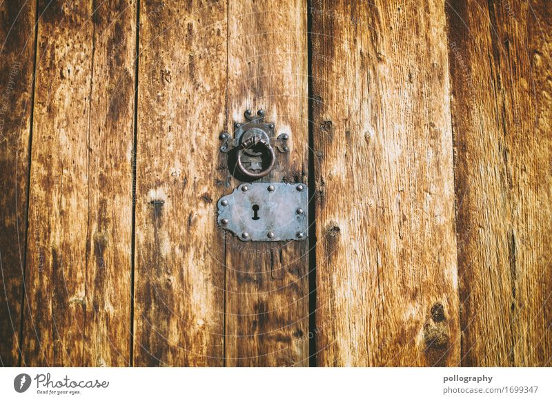 door Holz Gefühle Kunst braun grau Metall Tür authentisch geschlossen fest Schloss