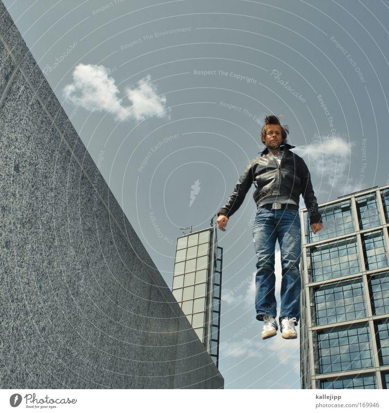 elvis lebt! Mensch Mann Erwachsene springen Freizeit & Hobby Lifestyle Coolness Stoff Jeanshose Fitness Schuhe Jacke Leichtigkeit Turnschuh Leder beweglich