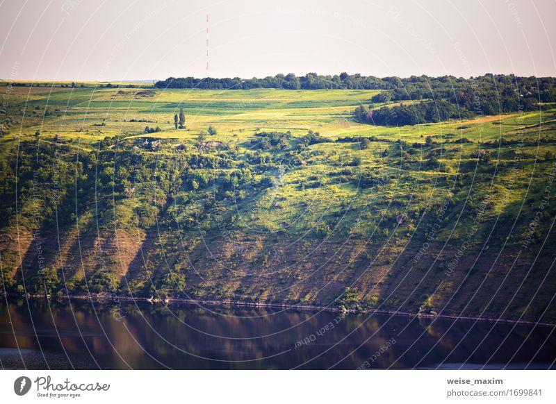 Sonniger Morgen des Sommers auf dem Fluss schön Ferien & Urlaub & Reisen Sonne Umwelt Natur Landschaft Pflanze Erde Wasser Himmel Sonnenaufgang Sonnenuntergang