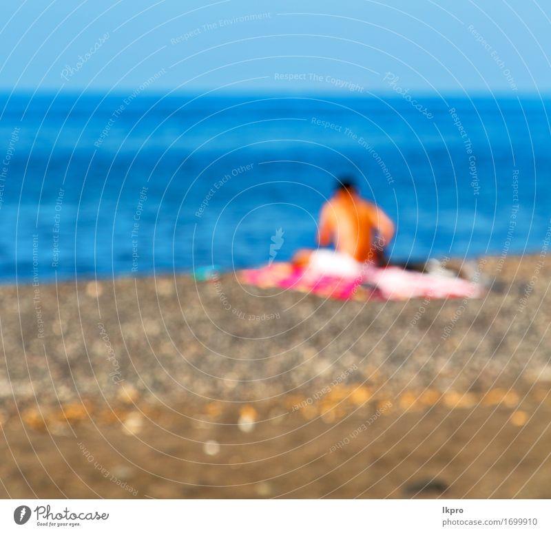 Insel Rock Meer und Strand Himmel Natur Ferien & Urlaub & Reisen Sommer schön weiß Landschaft Wolken schwarz Küste grau Stein Sand Felsen