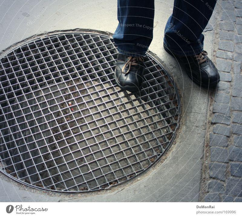 Nr. 0000011010 blau grau Stein Schuhe Beton Kreis Jeanshose rund stehen Hose Quadrat Tunnel Stahl Turnschuh Am Rand Gitter