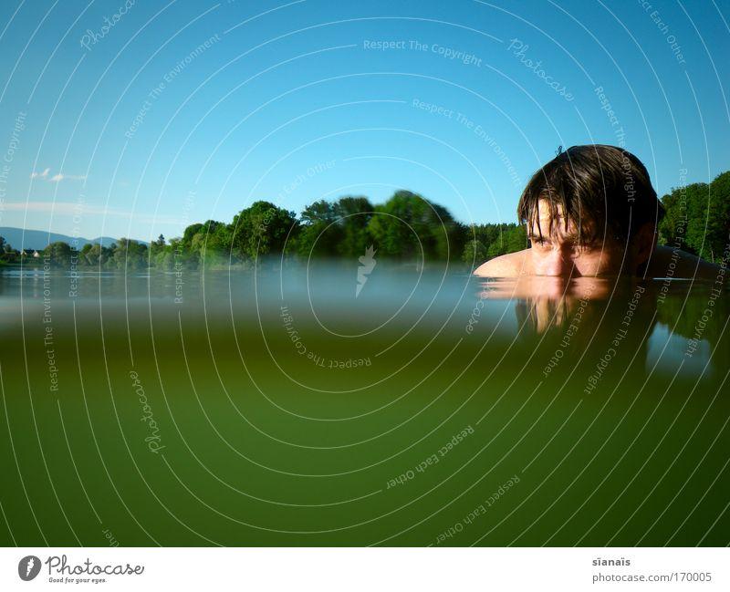frood ness Mensch Mann Natur Jugendliche blau Wasser grün Sommer ruhig Wald Erwachsene Kopf See Schwimmen & Baden nass maskulin
