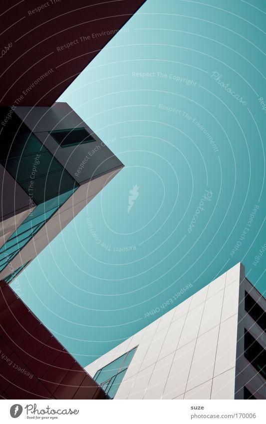 Bildungslücke Wissenschaften Studium Karriere Erfolg Umwelt Himmel nur Himmel Wolkenloser Himmel Gebäude Architektur Mauer Wand Fassade Fenster Zeichen eckig