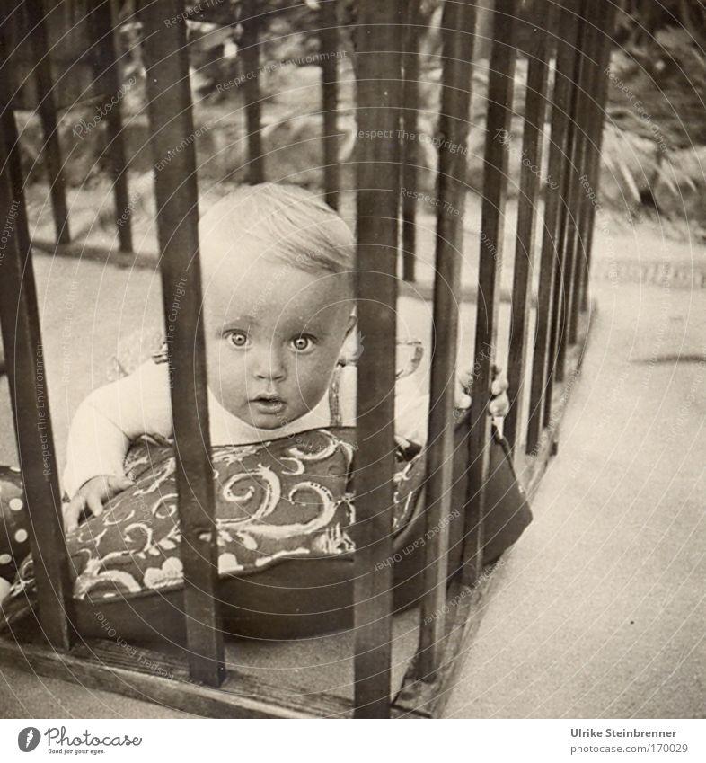 Lebenslänglich? Mensch Kind Mädchen Auge Freiheit Kopf Haare & Frisuren Garten Kindheit blond Baby Mund liegen Sicherheit Neugier Schutz