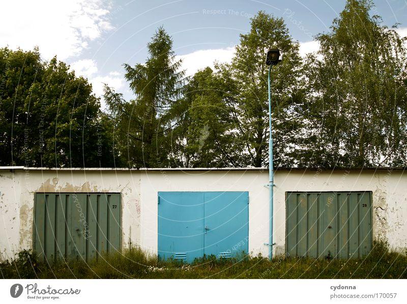 Blau machen im Grünen Natur blau Sommer Einsamkeit Farbe Wald Leben Gefühle träumen Traurigkeit Landschaft Architektur Umwelt Perspektive Ordnung ästhetisch