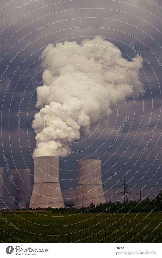 Donnerwetter Pflanze Wolken Wiese Denken Feld dreckig Wetter Umwelt Industrie Energiewirtschaft Zukunft Fabrik Wandel & Veränderung Klima Rauch Wirtschaft
