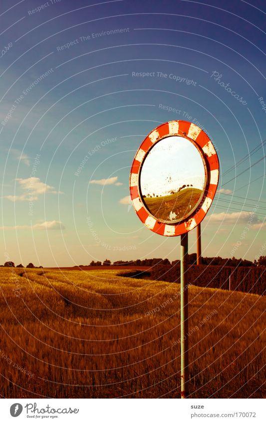 Spiegelbild Umwelt Natur Landschaft Himmel Wolken Horizont Sommer Klima Schönes Wetter Nutzpflanze Getreide Feld Verkehr Verkehrszeichen Verkehrsschild