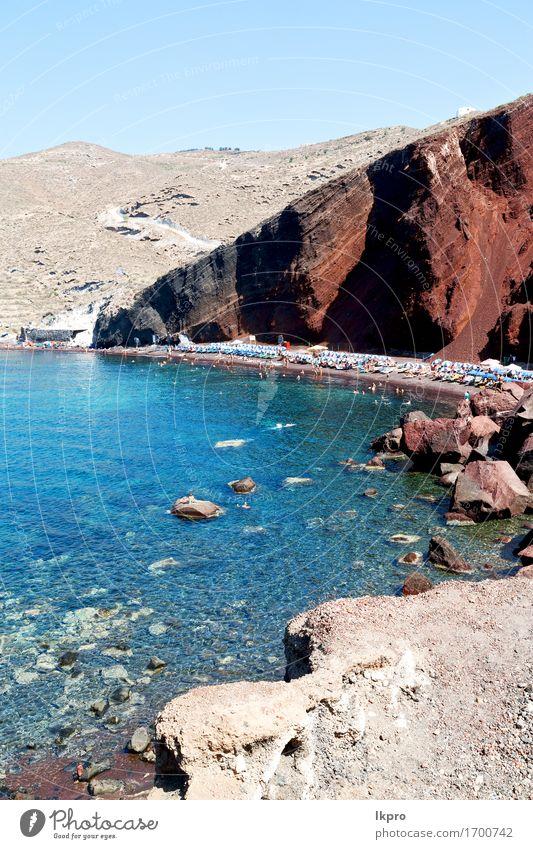 und Mittelmeerküstenlinie Meerrotstrand Himmel Natur Ferien & Urlaub & Reisen blau Sommer schön weiß Sonne Landschaft Haus Strand Berge u. Gebirge natürlich