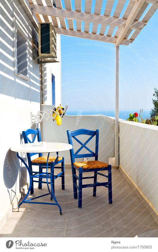 alter Restaurantstuhl Griechenlands und Sommer Kaffee Lifestyle kaufen Reichtum Erholung Ferien & Urlaub & Reisen Tourismus Sonne Meer Haus Stuhl Tisch