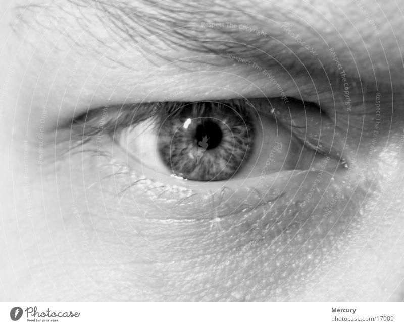 Spiegel der Seele Mann Auge Schwarzweißfoto Makroaufnahme Regenbogenhaut