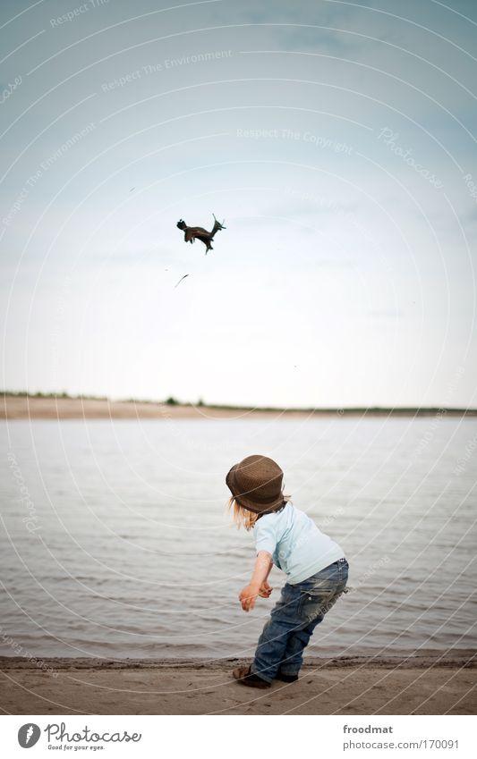 Bambi Mensch Kind Himmel Freude Spielen Glück Küste Stil Kindheit maskulin Fröhlichkeit Coolness niedlich Jeanshose Schönes Wetter Kleinkind