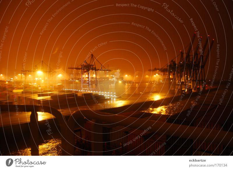 Burchardkai Farbfoto Gedeckte Farben Nacht Licht Panorama (Aussicht) Weitwinkel Schifffahrt Containerschiff Wasserfahrzeug Hafen An Bord Bewegung