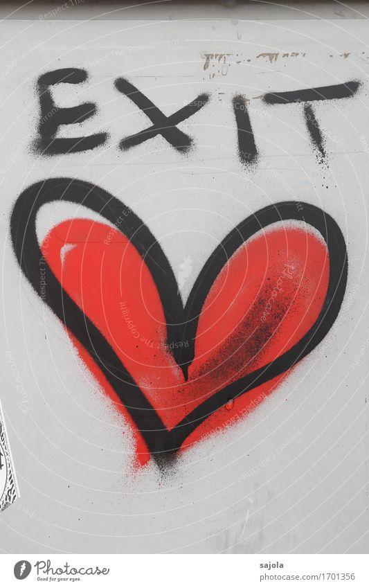 EXIT <3 rot schwarz Wand Liebe Gefühle Graffiti Mauer Kunst Schriftzeichen Herz Zeichen Verliebtheit Liebeskummer herzförmig Ausweg
