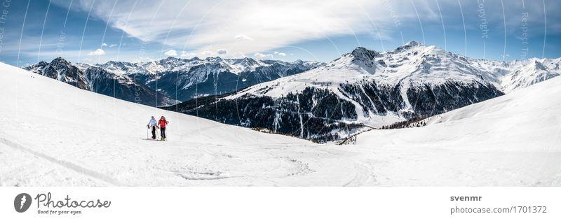 Alpen-Skitour Panorama Mensch Ferien & Urlaub & Reisen Baum Landschaft Einsamkeit Wolken ruhig Ferne Berge u. Gebirge Wege & Pfade Sport Freiheit Tourismus
