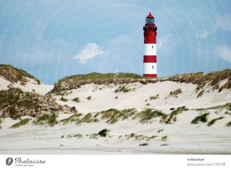 Amrum Kitsch Natur Himmel Wolken Gras Sand Landschaft Wind groß Sträucher Stranddüne Leuchtturm