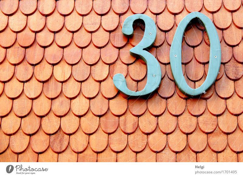 AST9 | 30 Kleinstadt Haus Gebäude Mauer Wand Fassade Dachziegel Holz Ziffern & Zahlen alt authentisch einzigartig blau rot Ordnungsliebe Nostalgie Geburtstag