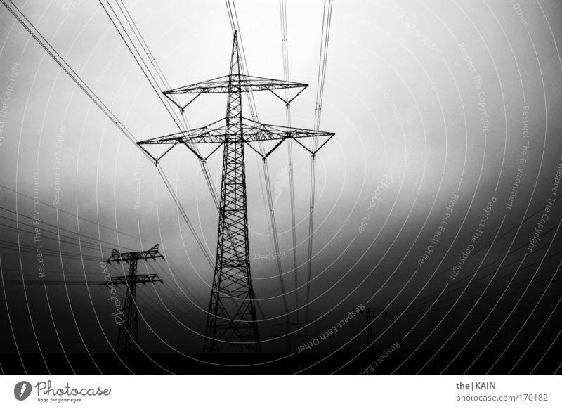 High Voltage Schwarzweißfoto Außenaufnahme Menschenleer Textfreiraum rechts Abend Technik & Technologie High-Tech Energiewirtschaft Industrie Strommast