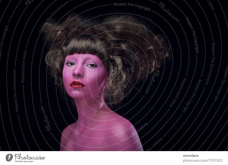 rosa Körperkunst feminin Junge Frau Jugendliche Erwachsene Haut Kopf Haare & Frisuren Gesicht Mund 1 Mensch Mode Maske brünett Locken atmen Blick schwarz