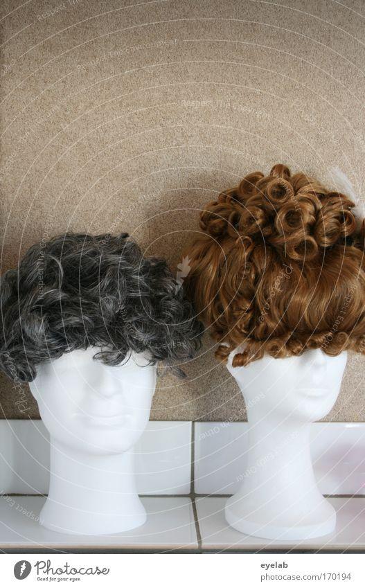 Die Qual der Wahl Mensch schön feminin Haare & Frisuren Kopf lustig Mode Design Kitsch Dienstleistungsgewerbe trashig Kunststoff Handwerk brünett Friseur Locken