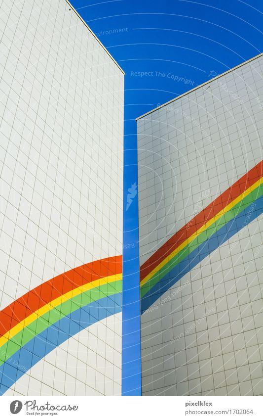 Plattenbau Berlin Deutschland Stadt Hauptstadt Menschenleer Haus Hochhaus Gebäude Architektur Mauer Wand Fassade hoch modern neu oben retro mehrfarbig