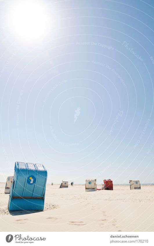 Sonnenschutzfaktor 30 Himmel Meer Sommer Strand Ferien & Urlaub & Reisen ruhig Ferne Erholung Sand Insel Tourismus Sonnenbad Schönes Wetter Nordsee