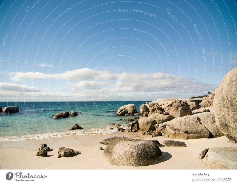Boulders Beach Himmel Meer Sommer Strand Ferien & Urlaub & Reisen Wolken Ferne Freiheit Stein Wärme Landschaft Küste Horizont Felsen Tourismus Afrika
