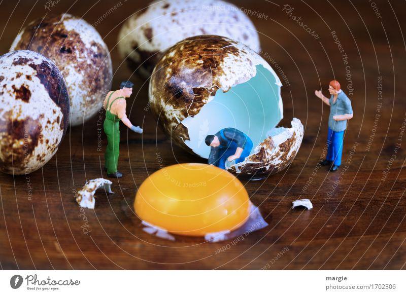 Miniwelten - Debatte um gelegte Eier Lebensmittel Ernährung Frühstück Bioprodukte Handwerker Koch Arbeitsplatz Baustelle Dienstleistungsgewerbe Gastronomie
