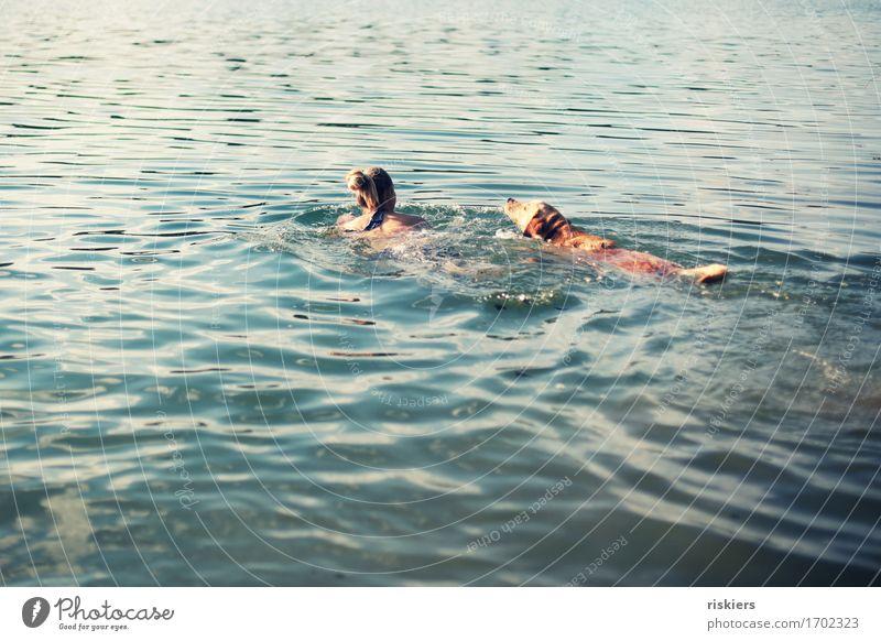 einfach schwimmen, schwimmen, schwimmen... Mensch feminin Frau Erwachsene Freundschaft Leben 1 30-45 Jahre Sommer Schönes Wetter See Tier Haustier Hund