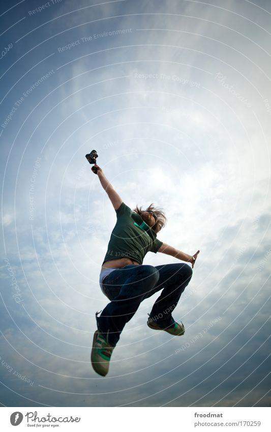 fotograf Mensch Himmel Mann Jugendliche Freude Erwachsene springen Glück Luft Kraft maskulin außergewöhnlich Erfolg verrückt Lifestyle 18-30 Jahre