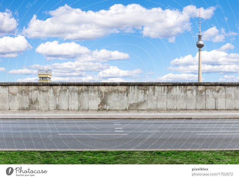 Berliner Mauer Deutschland Stadt Hauptstadt Stadtzentrum Turm Bauwerk Wand Sehenswürdigkeit Wahrzeichen Denkmal Berliner Fernsehturm Straße Stein Beton alt
