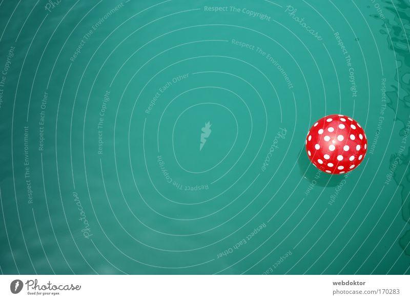 Wasserball grün rot Sommer Wärme Schwimmen & Baden nass rund Schwimmbad Ball fantastisch Im Wasser treiben Textfreiraum Teich Vogelperspektive Wasseroberfläche