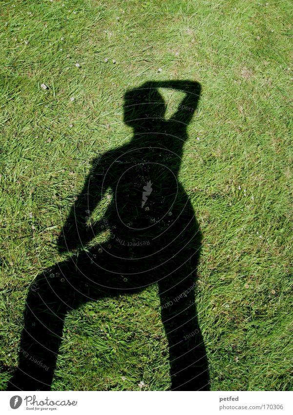 ... feminine position ... Frau Erwachsene 1 Mensch Erde Gras stehen grün schwarz Freude Schatten Farbfoto Außenaufnahme Textfreiraum oben Tag Silhouette Totale