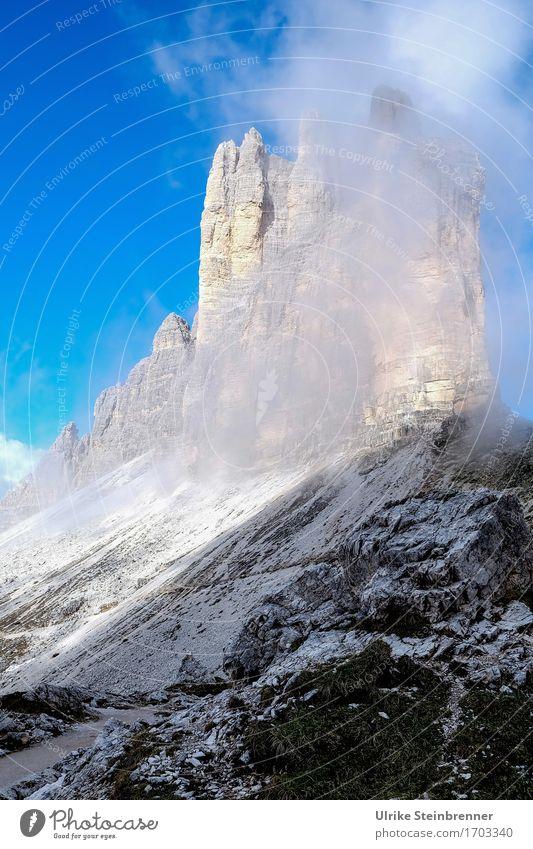 Drei Zinnen Südwand 1 Himmel Natur Ferien & Urlaub & Reisen Sommer Landschaft Berge u. Gebirge Umwelt natürlich Felsen Tourismus Nebel leuchten wandern Ausflug