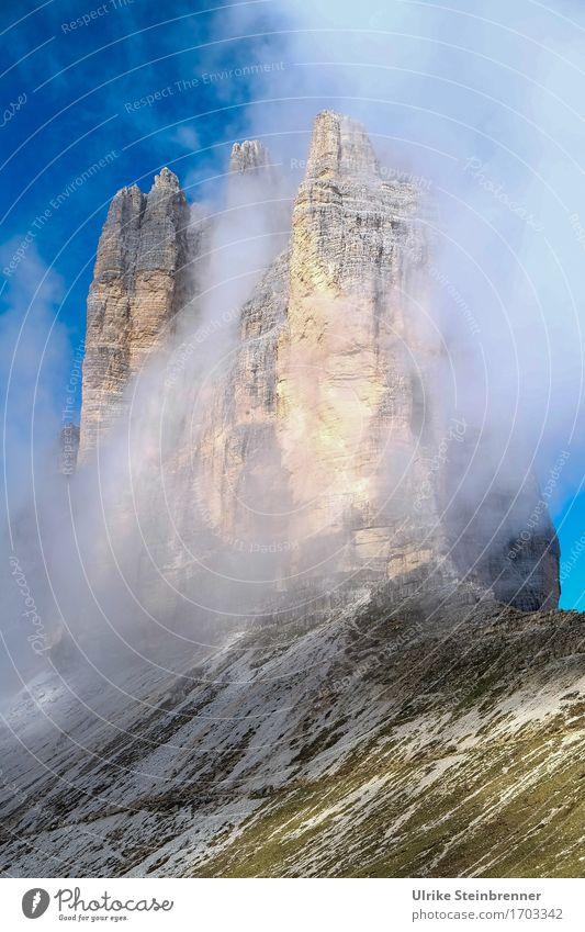 Drei Zinnen 3 Himmel Natur Ferien & Urlaub & Reisen Sommer Landschaft Wolken Berge u. Gebirge Umwelt natürlich Felsen Tourismus Luft Nebel wandern Ausflug