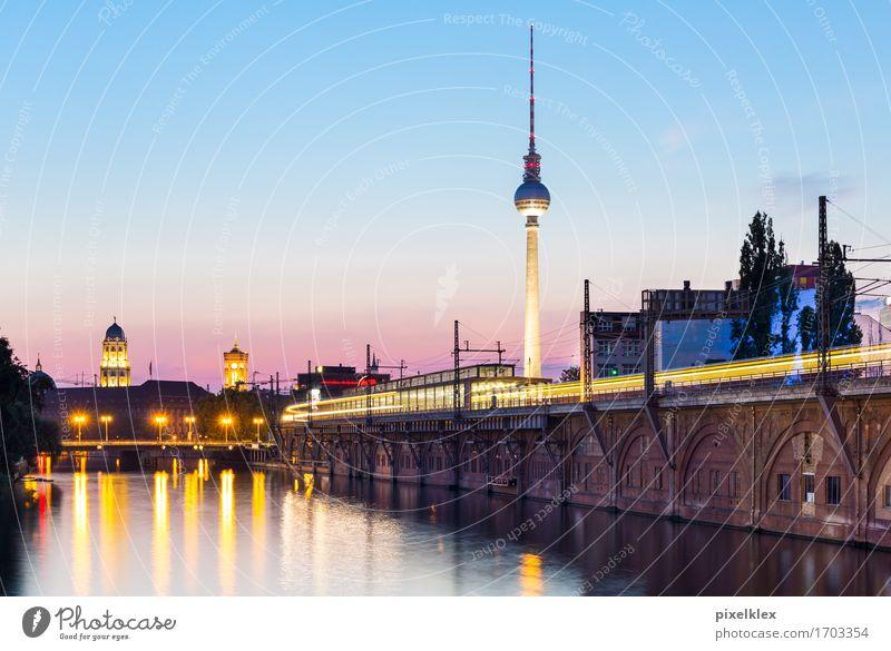 Berlin bei Nacht Ferien & Urlaub & Reisen Stadt Wasser Architektur Gebäude Deutschland Tourismus Brücke Turm Fluss Bauwerk Wahrzeichen Hauptstadt