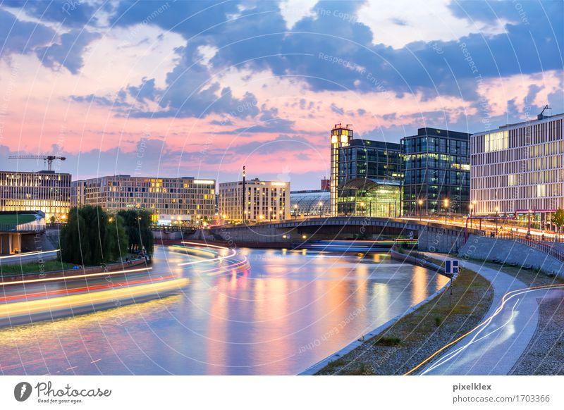 Spreebogen bei Nacht Ferien & Urlaub & Reisen Stadt Wasser Haus Architektur Berlin Gebäude Deutschland Tourismus Wasserfahrzeug Verkehr Hochhaus Ausflug Brücke