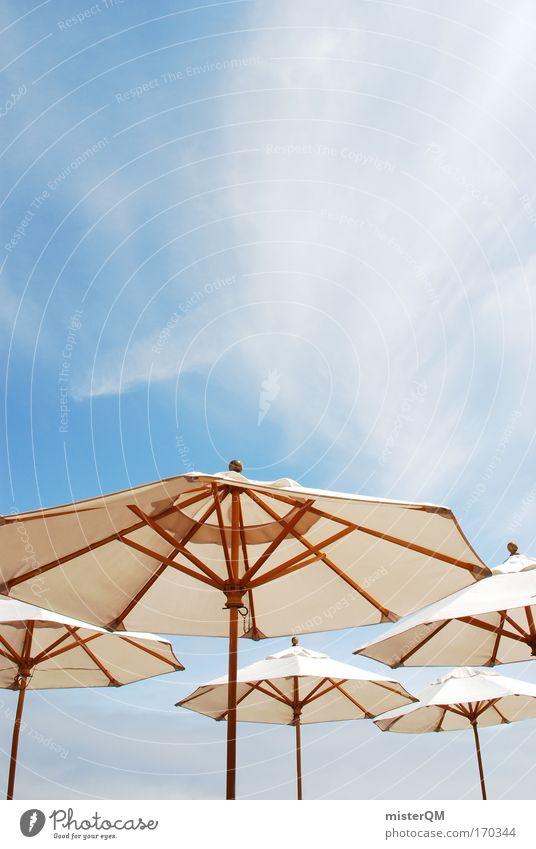 Sonnenschutz. Farbfoto mehrfarbig Außenaufnahme Menschenleer Tag Sonnenlicht Sonnenstrahlen Starke Tiefenschärfe Totale Zeichen Freude Wärme Sonnenschirm Cirrus