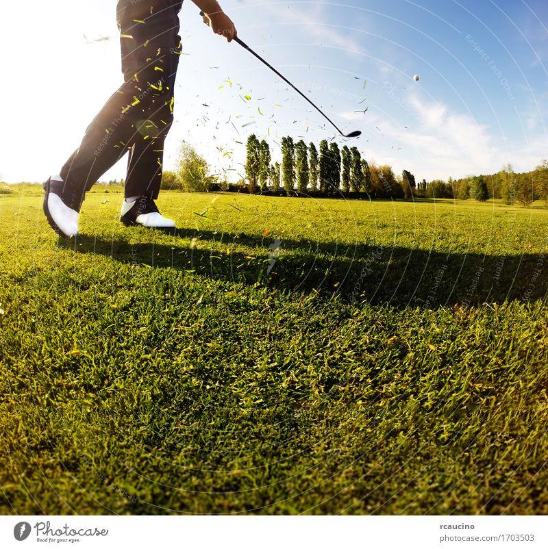 Golfspieler führt einen Golfschuß vom Fahrrinne durch Erholung Freizeit & Hobby Spielen Ferien & Urlaub & Reisen Tourismus Sommer Club Disco Sport Mensch Mann
