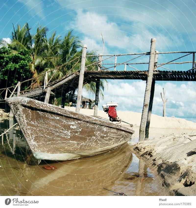 Longtail Natur Wasser Strand Ferien & Urlaub & Reisen Sand Wasserfahrzeug Küste Armut Ausflug Abenteuer Insel Güterverkehr & Logistik authentisch einfach Asien Dorf